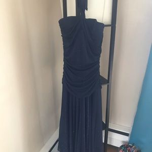 Sparkly Navy Blue Halter Dress Large